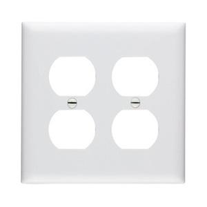 Pass & Seymour TP82-W Duplex Receptacle Wallplate, 2-Gang, Nylon, White