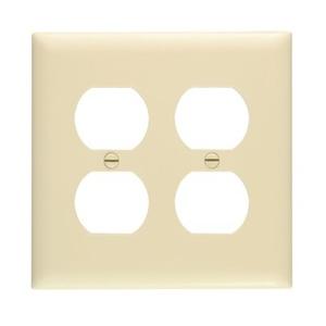 Pass & Seymour TP82-I Duplex Receptacle Wallplate, 2-Gang, Nylon, Ivory