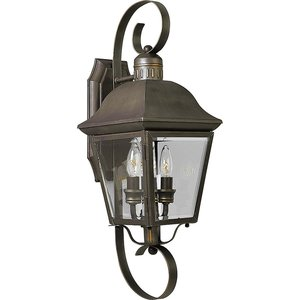 Progress Lighting P5688-20 Wall Lantern, Outdoor, 2-Light, 60W, Antique Bronze
