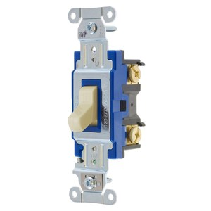 Hubbell-Kellems 1201I Single Pole Switch, 15A, 120-277V, Ivory, Heavy Duty
