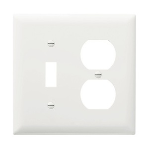 Pass & Seymour TP18-W Wallplate, 2-Gang, Toggle/Duplex, Nylon, White