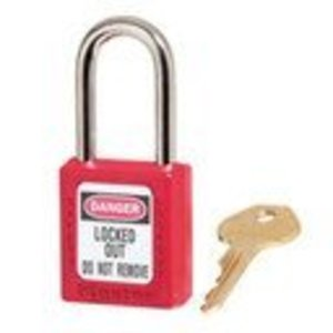 "Master Lock 410RED Thermoplastic Safety Lockout Padlock, Red, 1-1/2"" Wide"