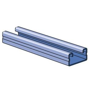 "Unistrut P4100-10PG Channel - No Holes, Steel, Pre-Galvanized, 1-5/8"" x 13/16"" x 10'"