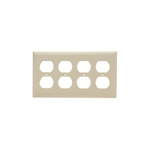Pass & Seymour SP84-I Duplex Wallplate, 4-Gang, Thermoset, Ivory