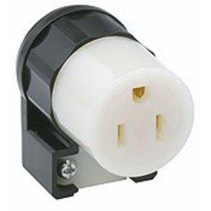 Leviton 5269-CA 15 Amp Angled Connector, 125V, 5-15R, Nylon, Black/White