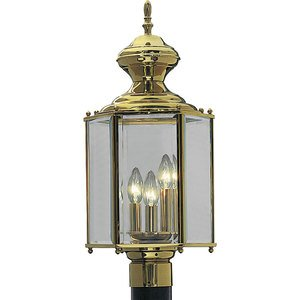 Progress Lighting P5432-10 Lantern, Outdoor, 3 Light, 60W, Polished Brass