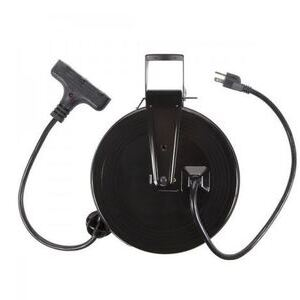 Bayco Products SL-801 Retractable Metal Cord Reel, 30', w/3 Outlets, 13 Amp