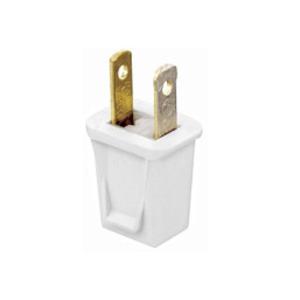 Leviton 123-PW 10 Amp Plug, 125 Volt, 1-15P, White, Polarized