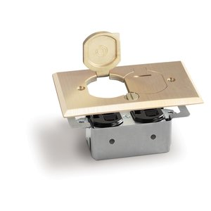 Lew RRP-2-LR Floor Plate Assembly, Receptacle Box, Brass