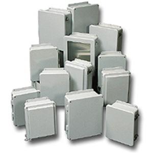 """Stahlin J606W Enclosure, NEMA 4X, 6"""" x 6"""" x 4"""", Opaque Cover, Gray, Fiberglass"""