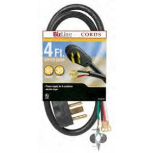 Bizline DR104BL304FT Dryer Cord, 30A, 125/250V, 4-Wire, 14-30P, 4' Long, Black