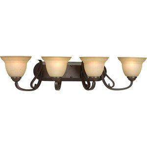 Progress Lighting P2884-77 Bath Light, 4-Light, 100W, Forged Bronze
