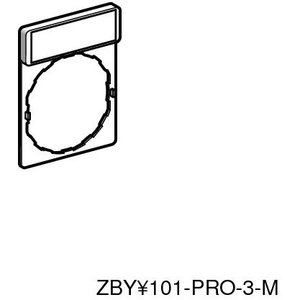 Square D ZBY2387 Pilot Device, Legend Plate, Black, White Text (HAND-OFF-AUTO)