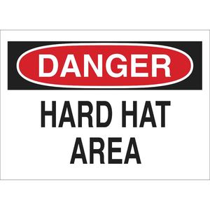 "Brady 22984 DANGER Hard Hat Area Sign, 10"" x 14"""