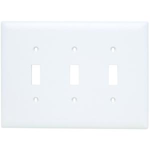 Pass & Seymour TPJ3-W Toggle Switch Wall Plate, 3-Gang, Nylon, White, Jumbo