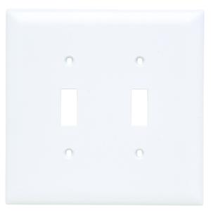 Pass & Seymour TPJ2-W Toggle Switch Wall Plate, 2-Gang, Nylon, White, Jumbo