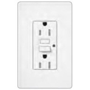 Lutron SCR-15-GFTR-MN Tamper Resistant GFCI Receptacle, 15A, 125V, Midnight