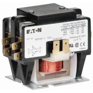 Eaton C25BNB220A Contactor, Definite Purpose, Compact, 20A, 2P, 120VAC Coil, Open