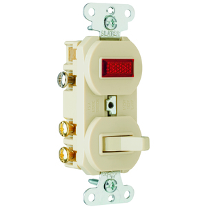 Pass & Seymour 695-I 3-Way Switch/Pilot Light Combo, 15A, Ivory