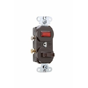 Pass & Seymour 692 Switch/Pilot Light Combo, 15A, Brown