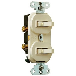 Pass & Seymour 690-LAG Switch Combo, (2) 1-Pole, 15A, Light Almond