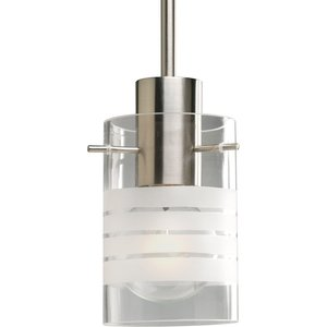Progress Lighting P5158-09 1-Light Mini-Pendant, 100W, 120V, Brushed Nickel Finish