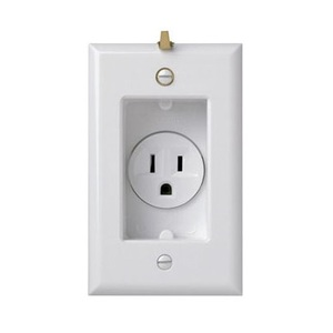 Pass & Seymour S3713-W Clock Hanger Receptacle, 15A, 125V, 5-15R, White