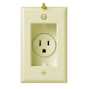 Pass & Seymour S3713-I Clock Hanger Receptacle, 15A, 125V, 5-15R, Ivory