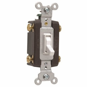 Pass & Seymour 664-WG Toggle Switch, 15A, 120V, White, Grounding