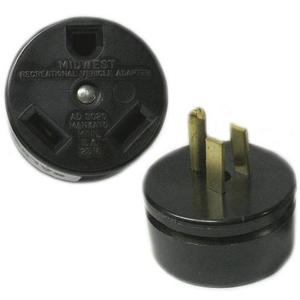 Midwest AD3020 Adapter, Temporary, 30A Female to 15A Male, 125VAC, Non-UL