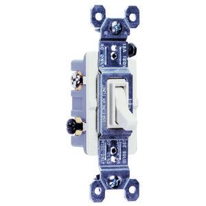 Pass & Seymour 663-WG Toggle Switch, 15A, 120VAC, White, Grounding