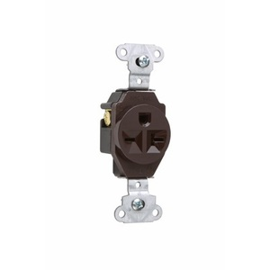 Pass & Seymour 5851 Single Receptacle, 20 Amp, 250 Volt, Brown