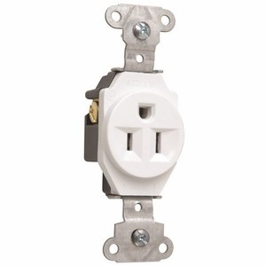 Pass & Seymour 5251-W Single Receptacle, 15 Amp, 125 Volt, White