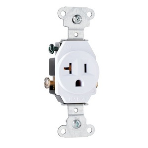 Pass & Seymour 5351-W Single Receptacle, 20 Amp, 125 Volt, White