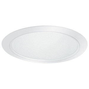 "Elite Lighting B531W-WH Shallow Stepped Baffle Trim, 5"", White Baffle/White Trim"
