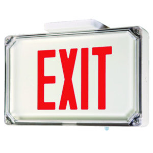 Hubbell-Dual-Lite SEWLSRWE-4X Wet Location Exit Sign, LED, Single Face, Red Letters