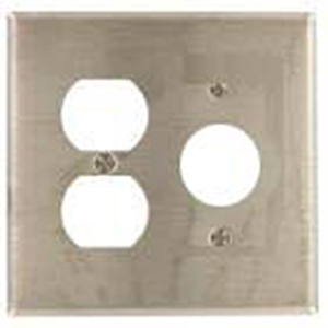 Mulberry Metal 97572 Wallplate, 2-Gang, Duplex/Single Receptacle, Stainless Steel