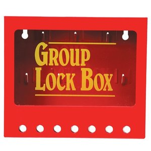 "Brady 105714 Metal Wall Lock Box, Red, 7"" H x 8"" W x 2.25"" D"