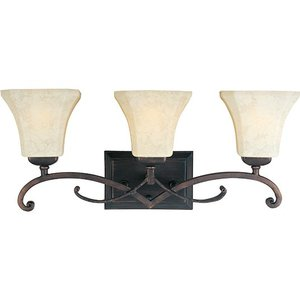 Maxim Lighting 21073FLRB Bath Vanity, 3-Light, 60W, Rustic Burnished