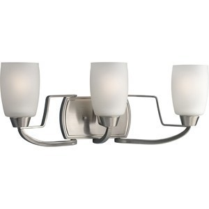 Progress Lighting P2796-09 Bath Light, 3-Light, 100W, Brushed Nickel
