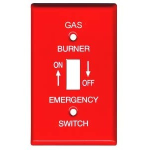 Mulberry Metal 41020 Toggle Switch Wallplate, 1-Gang, Red Steel, Gas Burner Plate