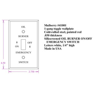 Mulberry Metal 41001 Switch Box Oil Burner Plate, Red, White Letters