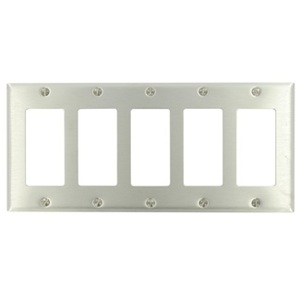 Leviton 84423-40 Decora Wallplate, 5-Gang, Non-Metallic Stainless Steel, Standard