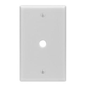 "Leviton PJ11-W Phone/Cable Wallplate, 1-Gang, .406"" Hole, WH Nylon, Midway"