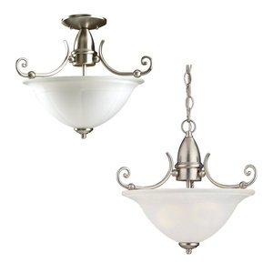 Sea Gull 51050-962 Foyer Fixture, 2-Light, Semi-Flush, Satin Glass, Brushed Nickel