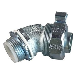 "Appleton STB-4575L Liquidtight Connector, 3/4"", 45°, Insulated, Grounding Lug, Steel"