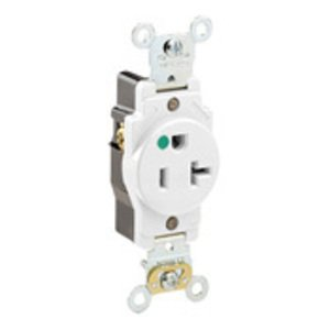 Leviton 8310-W Narrow Single Receptacle, 20A, 125V, 5-20R, Hospital Grade, White