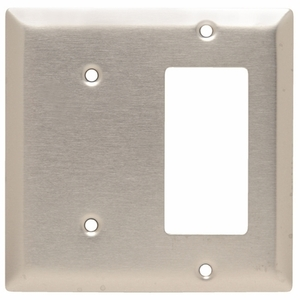 Hubbell-Wiring Kellems SS1426 Combo Wallplate, 2-Gang, Blank/Décor-GFCI, Stainless Steel