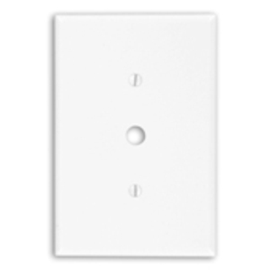 "Leviton 88113 Phone/Cable Wallplate, 1-Gang, .406"" Hole, WH Themoset, Ovr"