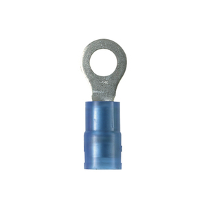 Panduit PNF14-6R-M Ring Terminal, Nylon Insulated, 16 - 14 AWG, Stud: #6, Blue, Copper